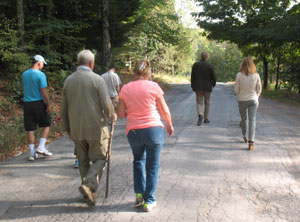 Harold Underdown (in front) leads attendees on an afternoon walk to find inspiration.
